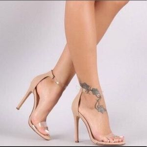 Shoes - Nude clear vinyl strappy heel.